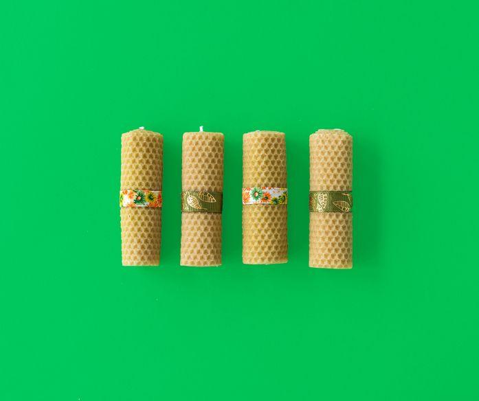 Sady svíček ze včelího vosku od našich prodejců 4 ks