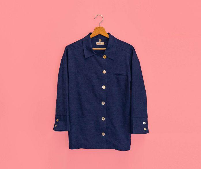 Lněné pyžamo - námořnická modrá