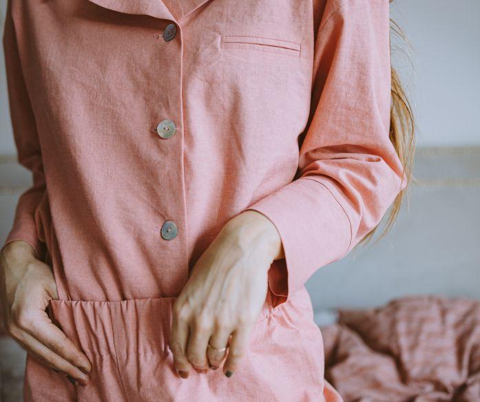 Lněné pyžamo - růžová